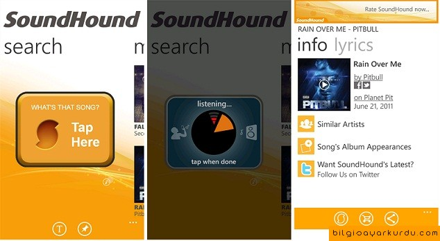 Windows Mobile İçin SoundHound Uygulaması